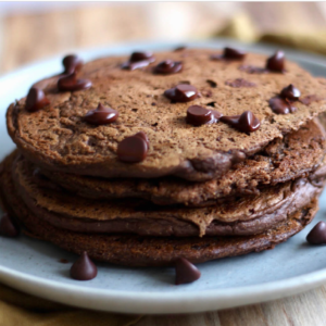 Brownie Protein Pancakes Healthy with Dasha